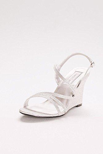 Davids Bridal Paige Shimmer Strappy Sandali Con Zeppa Stile 4176 Champagne