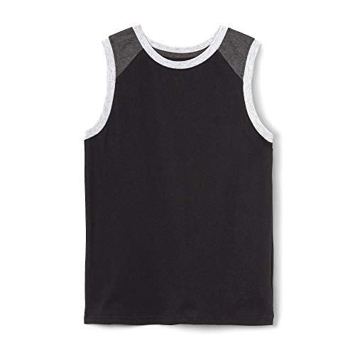 French Toast Boys'  Sleeveless Colorblock Muscle Tee,  Black, 2T,Toddler Boys