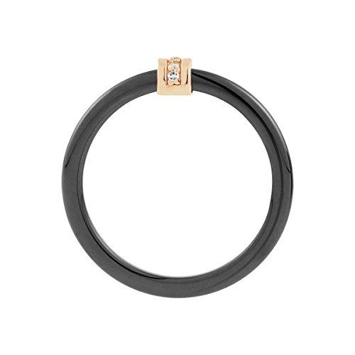 Bague CLEOR en Céramique Noire et Or 375/1000 Blanc avec Diamant Blanc - Femme