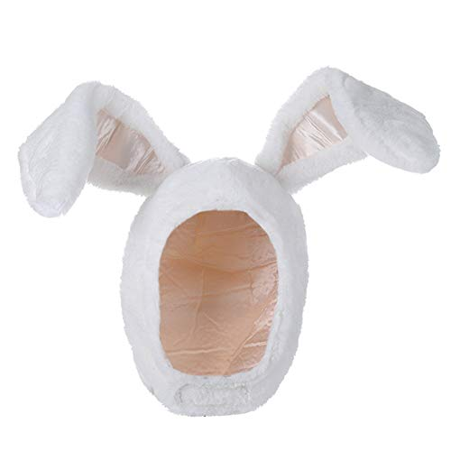 BOBILIKE Plush Fun Bunny Ears Hood Women Costume Hats Warm, Soft and Cozy, White