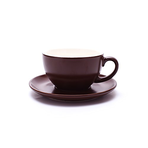 Cappuccino Cup - Coffeezone Double Espresso Coffee Cup and Saucer, Small Cappuccino and Speciality Coffee, New Bone China for Coffee Shop and Barista (Matte Brown, 5 oz)