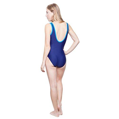 Slazenger–Bañador para niña, con clásico recorte en X en la espalda, materiales duraderos, ideal para piscina, el lago o el mar, apto a partir de 7–�?años, 9–�?0años, 11–�?2años, 13años, y 14 lila/türkis