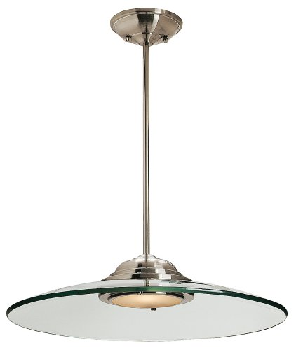 Access Lighting 50444LED-BS/8CL Phoebe  LED Light 19-Inch Diameter Pendant with 8mm Clear Glass Shade, Brushed Steel - Pendant Steel Access