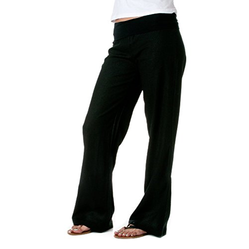 - Love Tree Womens Fold-Over Waist Linen Pants (Black, Medium)