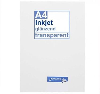 Inkjet Klebefolie 10 X Din A4 Transparent Glänzend Klar Glasklar Druckerfolie Zum Bedrucken Mit Tinte