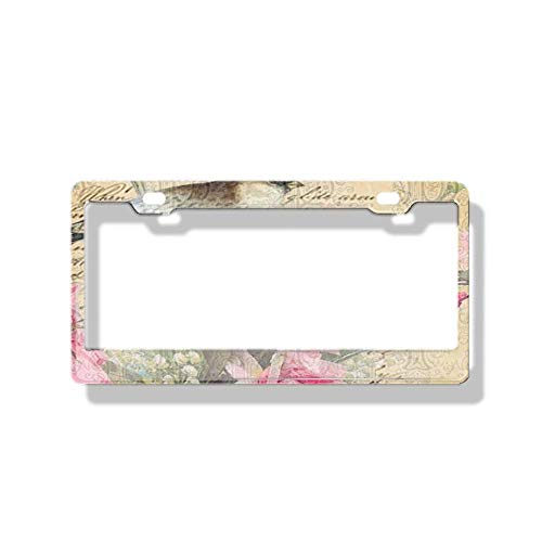 Car License Plate Frames Images are high-Resolution with Vivid Color and Detail Shams Bird Pretty Pink Blossoms