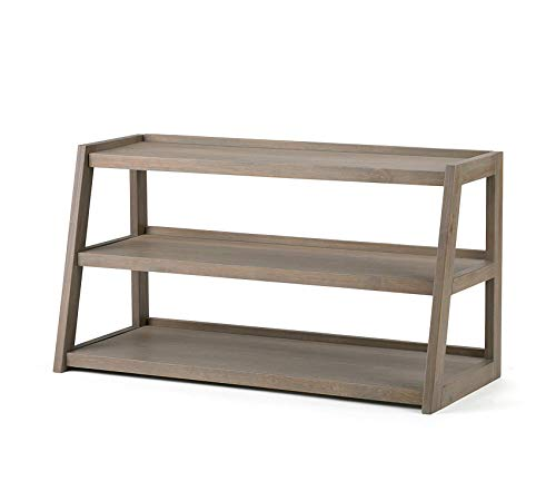 Sawhorse Solid Wood 48 inch Wide Modern Industrial TV Media Stand in Distressed Grey for TVs up to 50 inches Decor Comfy Living Furniture Deluxe Premium Collection Distressed 48 Inch Tv Stand