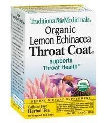 Traditional Medicinals Herbal Teas, Organic Lemon Throat Coat, 16 Tea Bags (Pack of 3)
