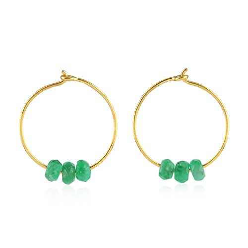 18K Yellow Gold Natural Emerald Beads Tiny Huggie Hoop Earrings for Women (12 mm diameter)