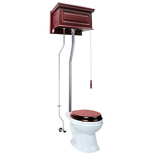 (Renovator's Supply Cherry Raised High Tank Pull Chain Toilet With White Elongated Bowl And Satin Rear Entry Pipe)