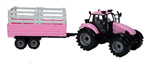 Pink Tractor - Toyland Friction Powered Farm Tractor with Trailer in Pink, Red Or Blue (Pink)