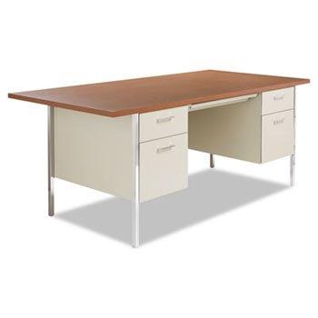 Alera Double Pedestal - Alera Double Pedestal Steel Desk, Metal Desk, 72w x 36d x 29-1/2h, Cherry/Putty