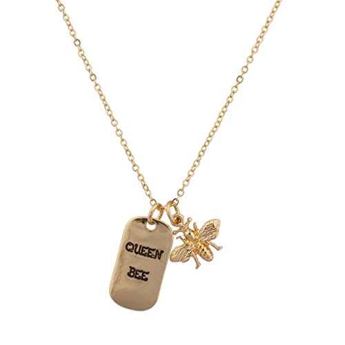 Lux Accessories Queen Bee Dog Tag Charm Pendant Necklace ()