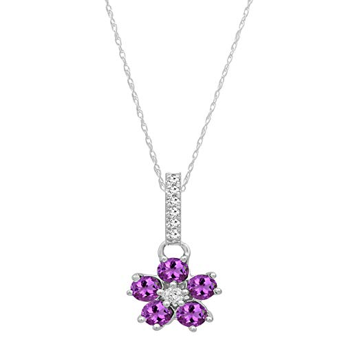 Dazzlingrock Collection 14K Round Amethyst & Diamond Ladies Cluster Flower Pendant (Silver Chain Included), White ()