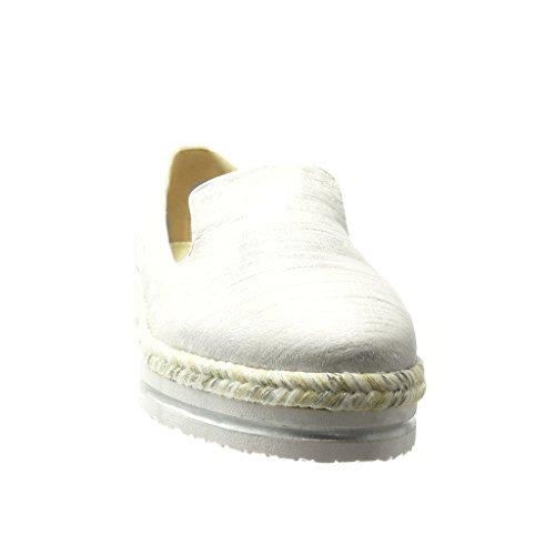 Angkorly - Chaussure Mode Espadrille Mocassin bi-matière slip-on femme peau de serpent corde tréssé Talon compensé plateforme 3.5 CM - Blanc