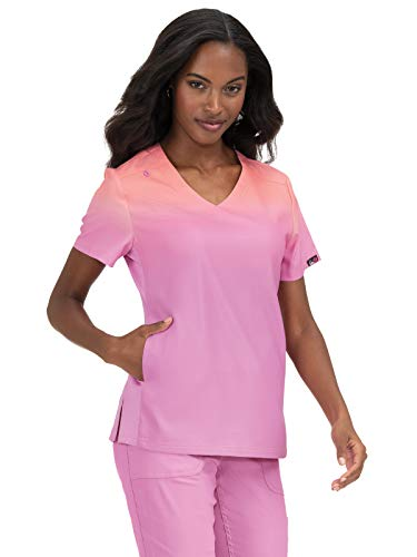 KOI Lite Women's V-Neck Ombre Reform Scrub Top Peach/Light Orchid 2XL