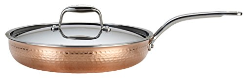 Lagostina Q5549964 Martellata Tri-ply Hammered Stainless Steel Copper Dishwasher Safe Oven Safe Skillet / Fry Pan Cookware, 12-Inch, Copper by Lagostina