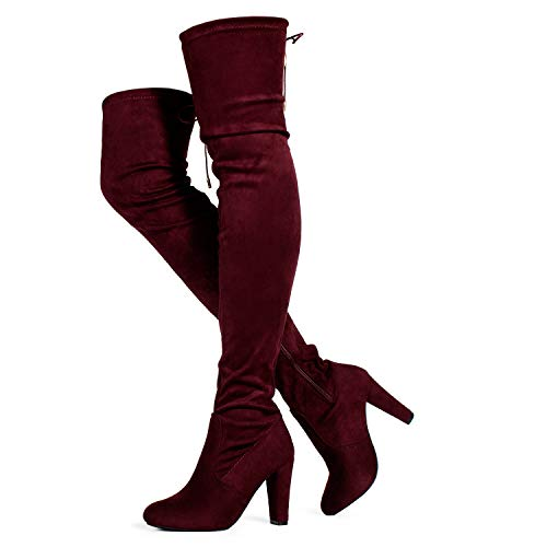 (RF ROOM OF FASHION Women's Thigh High Over The Knee Block Chunky Heel Pointy Round Toe Boots Burgundy (7))
