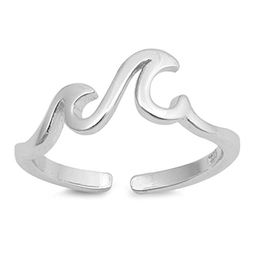 South Beach Full Cushion (5mm Wave Toe Ring Band 925 Sterling Silver Ocean Beach Little Waves)