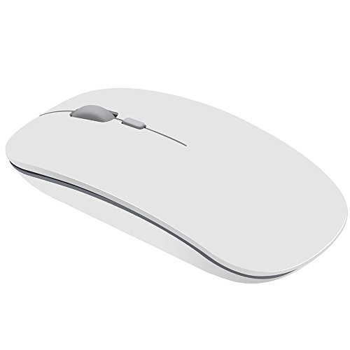 Price comparison product image BOOFAB 2.4G Slim Wireless Mouse with Nano Receiver Less Noise,  Portable Mobile Optical Mice for Notebook,  PC,  Laptop,  Computer,  Macbook (White)