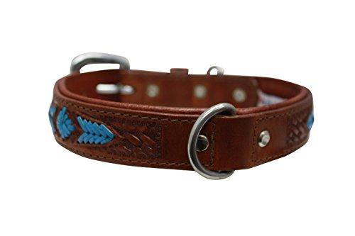 """Genuine leather dog collar. 20""""x1"""", Western tooled brown/blue turquoise rawhide weaving Argentinean cowhide. Angel Elite (SIERRA) Necks: 14.5""""-17.5"""""""