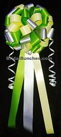 Yellow Clover Green and Silver Gray Wedding Bows Pew Bows Church Decorations Set Of 14 -