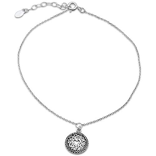 (Oxford Diamond Co Plain Filigree Heart .925 Sterling Silver Anklet 9