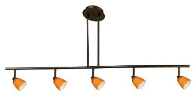 Cal Lighting SL-954-5-RU/AM Track Lighting with Amber Glass Shades, Rust Finish