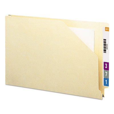 End Tab File Pockets, 1 1/2'''' Accordion Expansion, Legal, 14 Point Manila, 50/Box, Sold as 50 Each