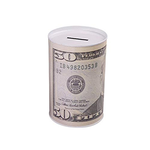 GOLD liu Euro Dollar Money Box Safe Cylinder Piggy Bank Banks for Coins Deposit Storage Boxes Home Decoration 10 20 50 100 10 Dollars