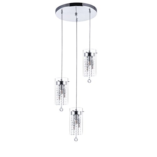 SHENGYADI 3 Light Glass & Crystal Multi Light Pendant Cylindrical Kitchen Island Lights with Round Base Modern Dining Room Lighting Fixtures Hanging, Chrome Finish