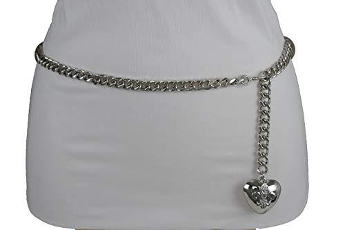 Women Hip Waist Silver Metal Chain Fashion Belt Love Heart Buckle Charm XS S M by RIX Fashion Luxury (Image #2)'