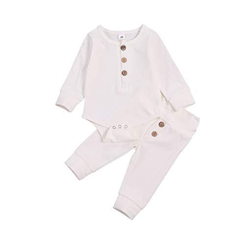 MoccyBabeLee Pasgeboren Baby Boy Kleding Katoen Lange Mouw Romper Bodysuit Trekkoord Broek Pyjama Broek Top Set 2 Stks…