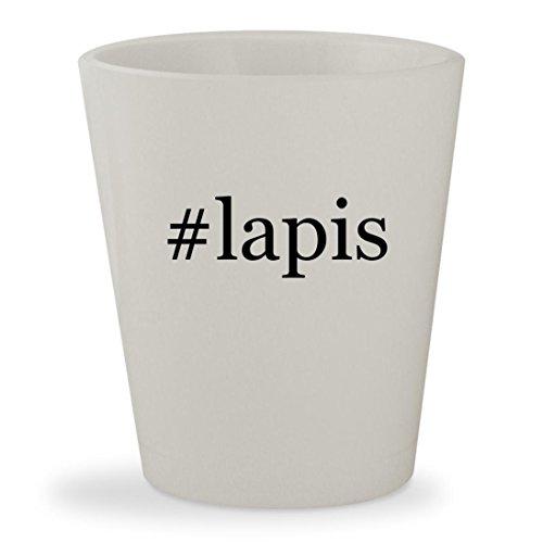 Sterling Silver Crystal Globe - #lapis - White Hashtag Ceramic 1.5oz Shot Glass