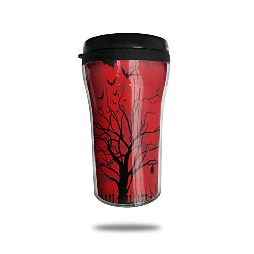 Kuyanasfk Gothic Scary Halloween Dark Red Night Coffee Travel Mug Tumbler Vacuum Insulated Stainless Steel Thermos Cup 8.5oz for Men & Women Home Office Camping -