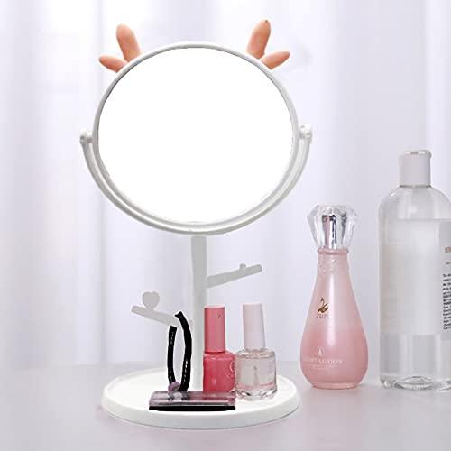 Makeup Mirror Vanity Mirror Tabletop Mirror 360 Swivei Small Detachable Portable Travel Personal Handheld 1X 3X Magnification Mirror Shower Room Badroom Shaving Mirror with Makeup Organizer , White
