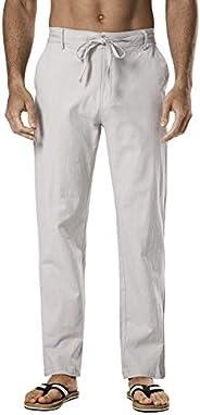 Jhsnjnr Men's Linen Casual Loose Fit Straight-Legs Stretchy Waist Beach P