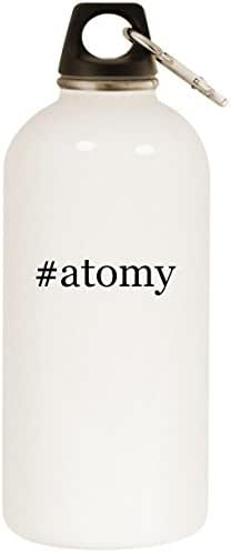 Molandra Products #Atomy - White Hashtag 20oz Stainless Steel Water Bottle with Carabiner