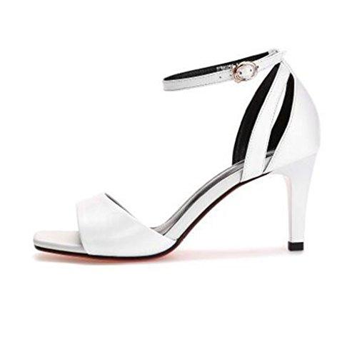 Femme Talons LLP Sandales Rough Foot Sangles Hauts Cuir Chaussures à en à Véritable Avec Brides Femmes Toe Open des White qRXrRt