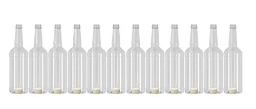 (Concession Express Long Neck 32oz Plastic Quart Bottles with Flip-Top Caps (12 Bottles))