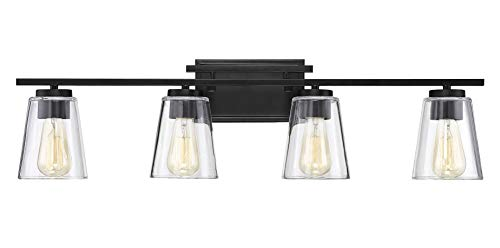 Savoy House 8-1020-4-BK Calhoun 4-Light Bathroom Vanity Light in a Black Finish -