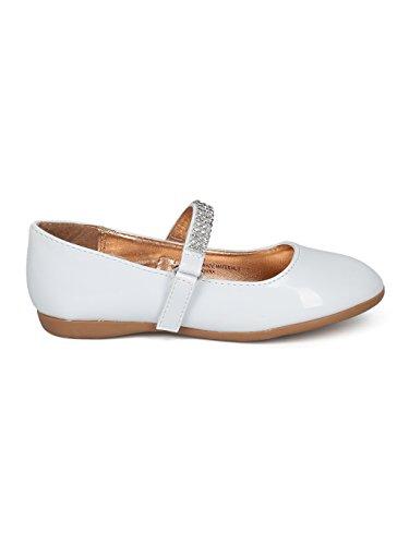 Indulge Grace-01 Girls Round Toe Rhinestone Mary Jane Ballet Flat HC74 - White Patent (Size: Little Kid 11) by Indulge (Image #1)