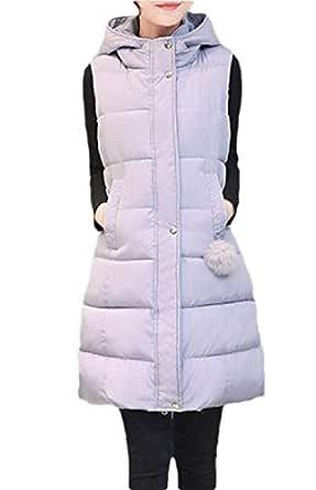 Women Down Jackets Waistcoat Female Winter Slim Hooded Vest Outerwear Gery S