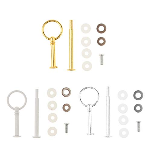 LOVIVER 1Set Metal 2 Tier Party Wedding Cupcake Fruit Heavy Plate Stand Centre Handle Fittings Round Drill Round Hardware Rod - Gold by LOVIVER (Image #7)