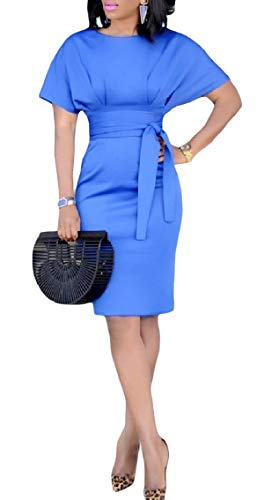 Short Fitted Bandage Office OL Coolred Blue Dress Women Light Fashion Solid Mid Sleeve n0BqxXfO