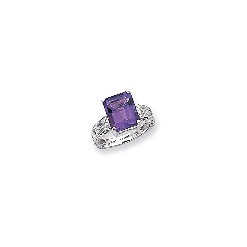 Best Birthday Gift 14k White Gold .02ct. Diamond & 12x10 Emerald-cut Gemstone Ring Mounting