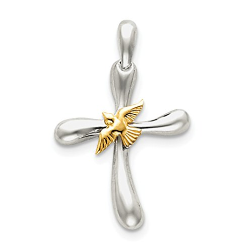 Vermeil Dove Cross (ICE CARATS 925 Sterling Silver Vermeil Dove Cross Religious Pendant Charm Necklace Fine Jewelry Ideal Gifts For Women Gift Set From Heart)