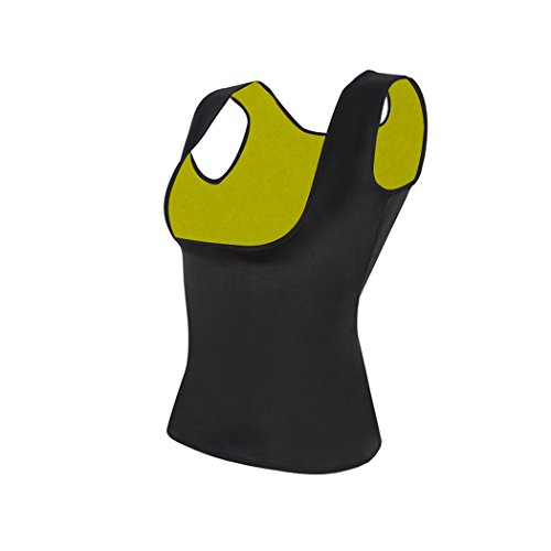 GoldFin Neoprene Vest Sauna Top Cami Suits for Weight Loss Black Hot Sweat Slimming Suit Body Shaper Tummy Control No Zipper for Women BS012 (Black+Yellow, M)