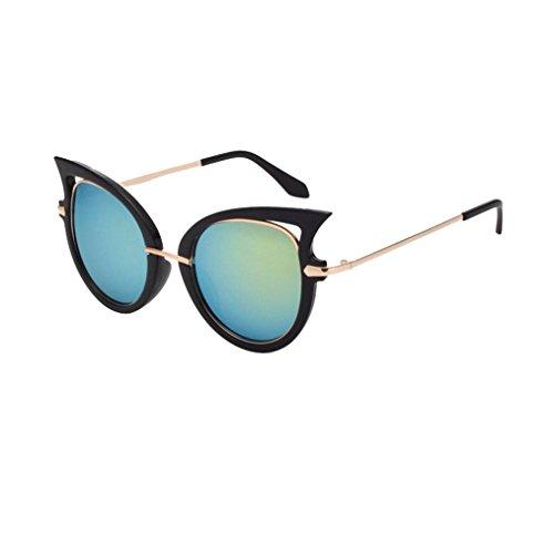 OverDose, Femmes Lunettes De Soleil Yeux De Chat Avec Monture En MéTal Et DéCoupes Fantaisie Mirror Lens Sunglasses F