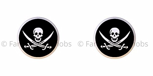 SET OF 2 KNOBS - Pirate Skull & Crossed Swords - Pirates - DECORATIVE Glossy CERAMIC Cupboard Cabinet PULLS Dresser Drawer -